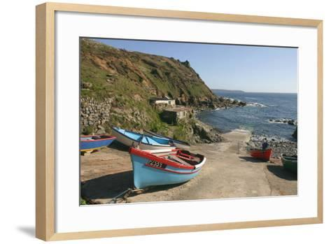 Boats on the Slipway at Cape Cornwall, Cornwall-Peter Thompson-Framed Art Print