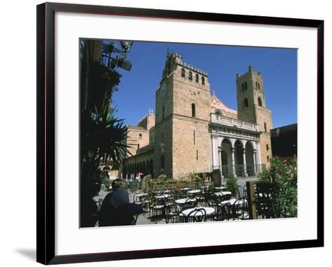 Cathedral and Cafe, Monreale, Sicily, Italy-Peter Thompson-Framed Art Print