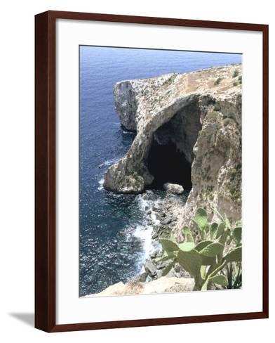 View of Natural Bridge and Boat, Blue Grotto, Malta-Peter Thompson-Framed Art Print