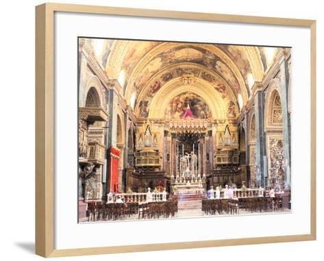 Interior of St Johns Co-Cathedral, Valletta, Malta-Peter Thompson-Framed Art Print