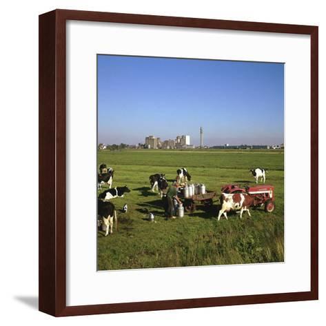 Cattle-Milking in Fields North-West of Amsterdam-CM Dixon-Framed Art Print