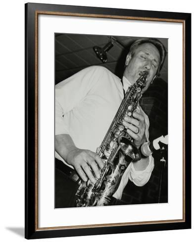 Saxophonist Peter King Playing at the Fairway, Welwyn Garden City, Hertfordshire, 14 April 1991-Denis Williams-Framed Art Print