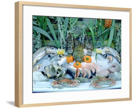 Fish Restaurant Display, Rethymnon, Crete, Greece-Peter Thompson-Framed Art Print