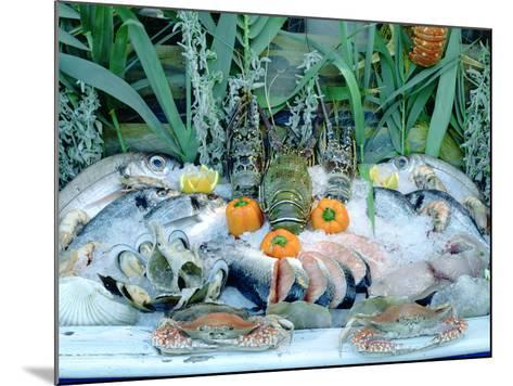Fish Restaurant Display, Rethymnon, Crete, Greece-Peter Thompson-Mounted Photographic Print