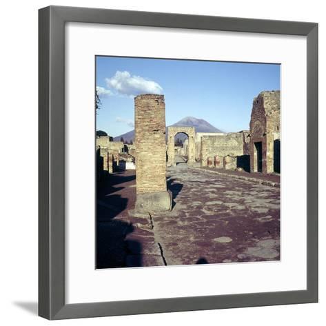 Road Leading to Arch of Caligula with Vesuvius Beyond, Pompeii, Italy-CM Dixon-Framed Art Print