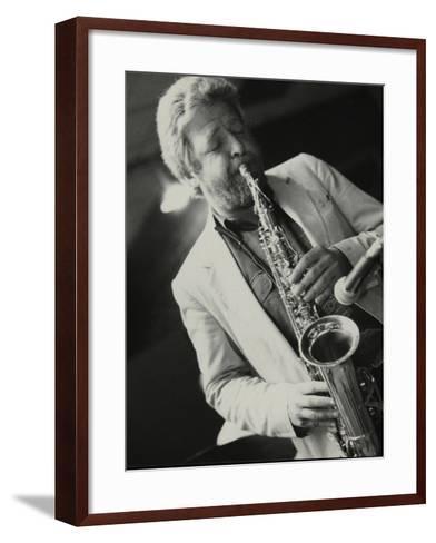 Saxophonist Geoff Simkins Playing at the Fairway, Welwyn Garden City, Hertfordshire, 28 April 1991-Denis Williams-Framed Art Print