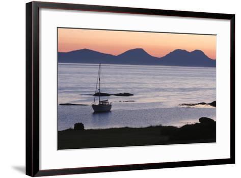 Sunset over Jura Seen from Kintyre, Argyll and Bute, Scotland-Peter Thompson-Framed Art Print