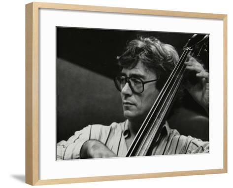 Terry Davies Playing Double Bass at the Fairway, Welwyn Garden City, Hertfordshire, 16 June 1991-Denis Williams-Framed Art Print