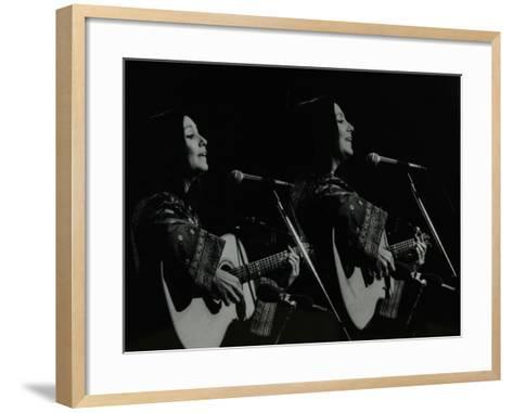 American Folk Musician Julie Felix Performing at the Forum Theatre, Hatfield, Hertfordshire, 1979-Denis Williams-Framed Art Print