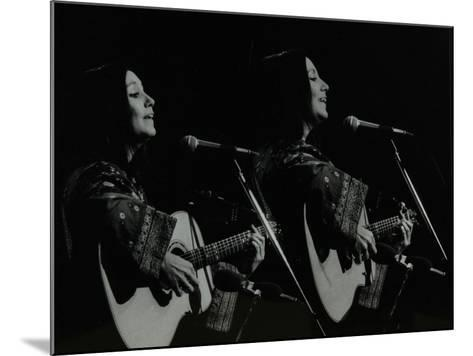 American Folk Musician Julie Felix Performing at the Forum Theatre, Hatfield, Hertfordshire, 1979-Denis Williams-Mounted Photographic Print