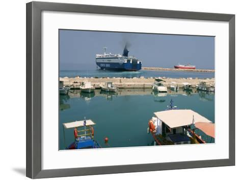 Ferry Departing from the Harbour of Poros, Kefalonia, Greece-Peter Thompson-Framed Art Print