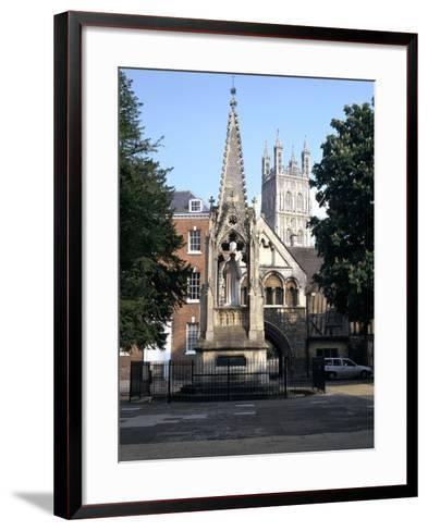 John Hooper Memorial, St Marys Gate and Gloucester Cathedral, Gloucestershire-Peter Thompson-Framed Art Print
