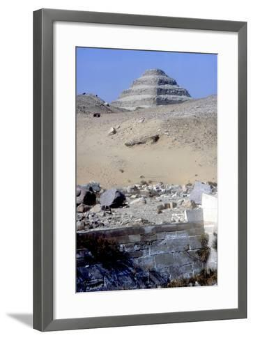 Step Pyramid of King Djoser (Zozer) Behind Ruins of Temple, Saqqara, Egypt, C2600 Bc- Imhotep-Framed Art Print