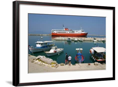 Ferry in the Harbour of Poros, Kefalonia, Greece-Peter Thompson-Framed Art Print