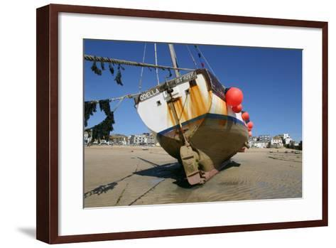 Fishing Boat in the Harbour at Low Tide, St Ives, Cornwall-Peter Thompson-Framed Art Print