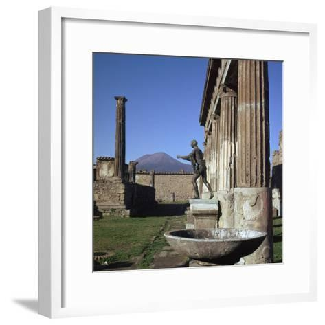 Bronze Statue at Temple of Apollo in Pompeii, 1st Century-CM Dixon-Framed Art Print