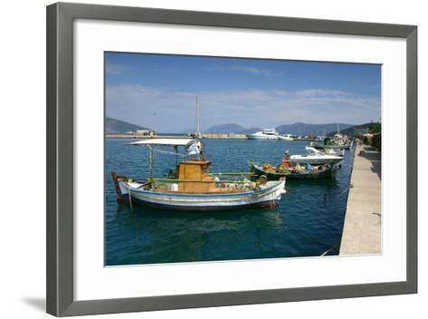 Fishing Boats Moored Alongside the Quay, Sami, Kefalonia, Greece-Peter Thompson-Framed Art Print