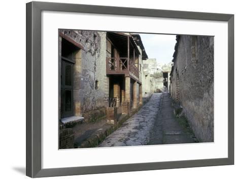 Casa a Graticcio, Herculaneum, Italy: Facade of the Roman House-CM Dixon-Framed Art Print