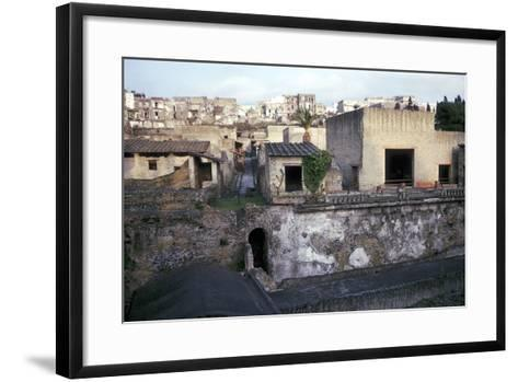 Buildings of Herculaneum with Houses of the Modern Town of Ercolano Above, Italy-CM Dixon-Framed Art Print