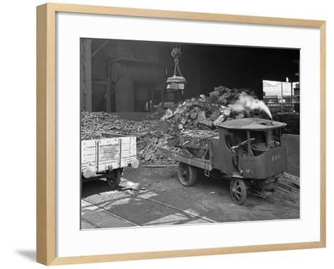 Loading a Steam Wagon with Scrap at a Steel Foundry, Sheffield, South Yorkshire, 1965-Michael Walters-Framed Art Print
