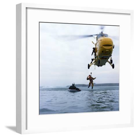 Westland Whirlwind Helicopter Making a Rescue, 1973-Michael Walters-Framed Art Print