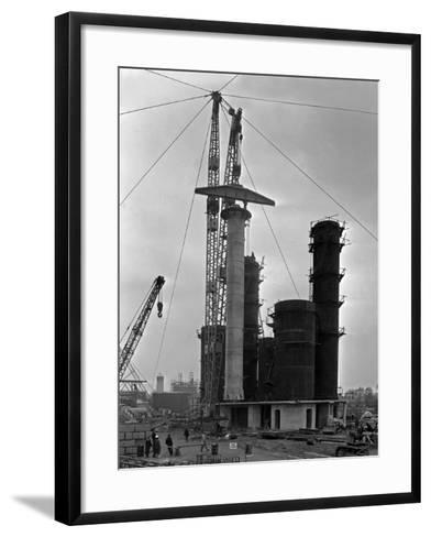High Pressure Coal Gasification Plant under Construction at Coleshill, West Midlands. 28th May 1-Michael Walters-Framed Art Print