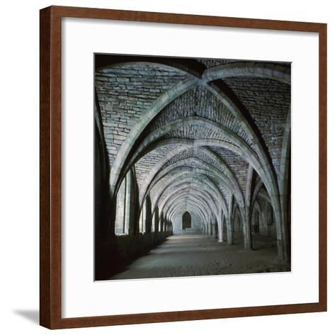 The Vaults in the Cellarium of Fountains Abbey, 12th Century-CM Dixon-Framed Art Print