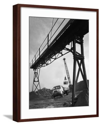 Loading a Ford Thames Trader Tipper Lorry, Finningley, Near Doncaster, South Yorkshire, 1966-Michael Walters-Framed Art Print