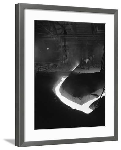 Molten Steel Being Channelled at the Stanton Steel Works, Ilkeston, Derbyshire, 1962-Michael Walters-Framed Art Print