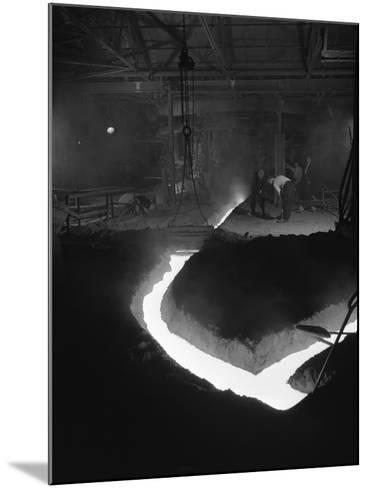 Molten Steel Being Channelled at the Stanton Steel Works, Ilkeston, Derbyshire, 1962-Michael Walters-Mounted Photographic Print