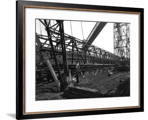 Lifting a Conveyor Bridge, Manvers Coal Preparation Plant, Near Rotherham, South Yorkshire, 1956-Michael Walters-Framed Art Print