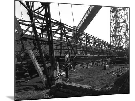 Lifting a Conveyor Bridge, Manvers Coal Preparation Plant, Near Rotherham, South Yorkshire, 1956-Michael Walters-Mounted Photographic Print