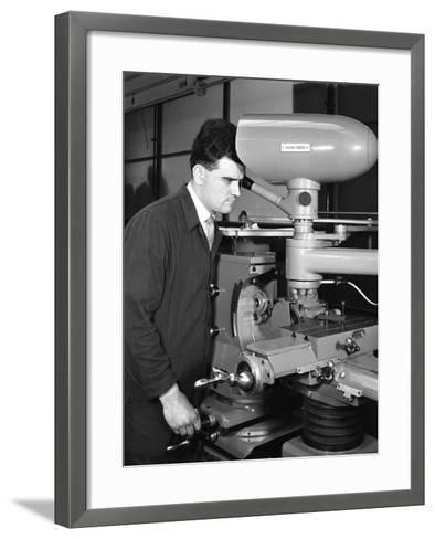Worker Using a Cutting Machine, Egdar Allen Steel Foundry, Sheffield, South Yorkshire, 1964-Michael Walters-Framed Art Print