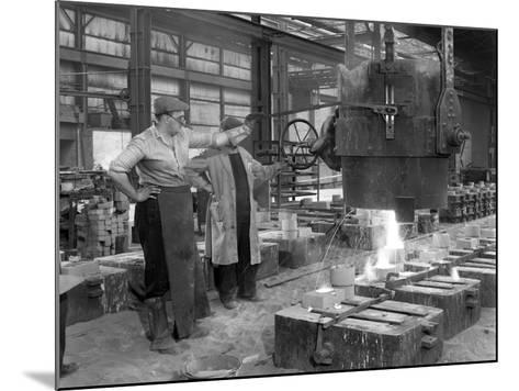 Pouring a Small Casting at Edgar Allens Steel Foundry, Sheffield, South Yorkshire, 1963-Michael Walters-Mounted Photographic Print