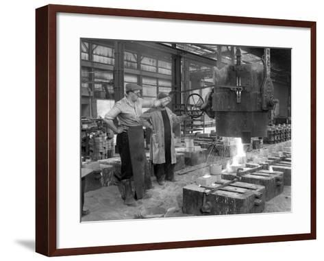 Pouring a Small Casting at Edgar Allens Steel Foundry, Sheffield, South Yorkshire, 1963-Michael Walters-Framed Art Print