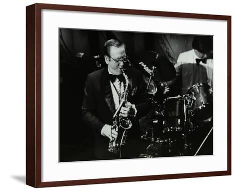 Harry Bence Playing the Saxophone at the Forum Theatre, Hatfield, Hertfordshire, 1984-Denis Williams-Framed Art Print