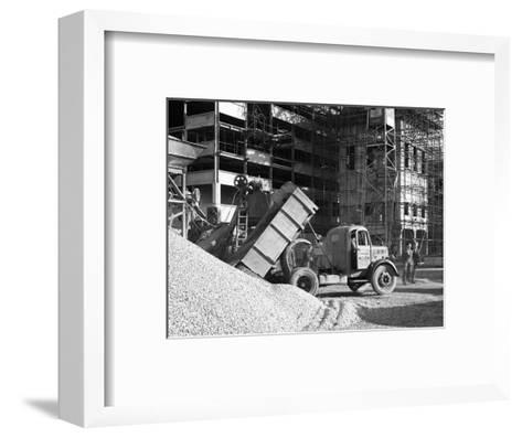 Early 1950S Bedford M Tipper Delivering Aggregates to a Building Site, South Yorkshire, July 1954-Michael Walters-Framed Art Print