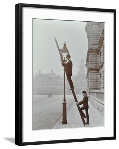 Testing Gas Pressure in Street Lighting, Westminster, London, 1910--Framed Art Print