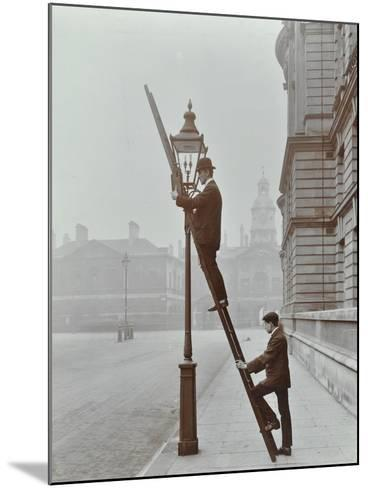 Testing Gas Pressure in Street Lighting, Westminster, London, 1910--Mounted Photographic Print