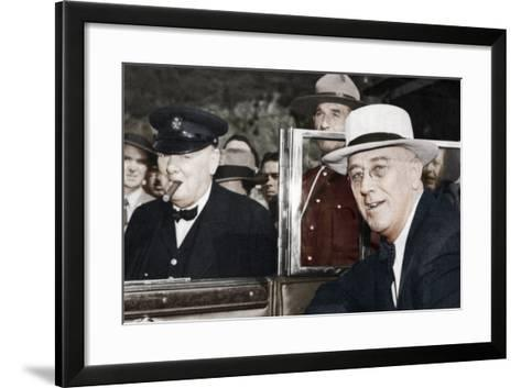Franklin D Roosevelt and Winston Churchill Meeting in Quebec, Canada, 1944--Framed Art Print