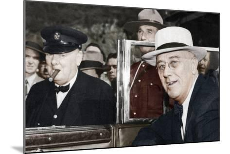 Franklin D Roosevelt and Winston Churchill Meeting in Quebec, Canada, 1944--Mounted Photographic Print