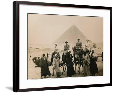 British Tourists Seated on Camels in Front of the Great Pyramid, Giza, Egypt, 1936--Framed Art Print