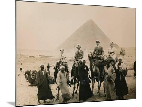 British Tourists Seated on Camels in Front of the Great Pyramid, Giza, Egypt, 1936--Mounted Photographic Print