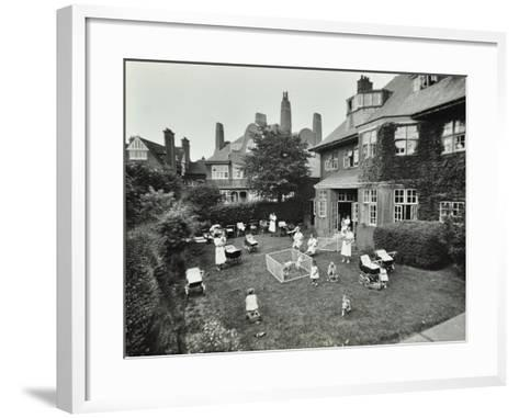 Children and Carers in a Garden, Hampstead, London, 1960--Framed Art Print