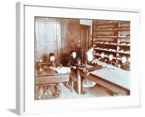 Boys Sewing at the Boys Home Industrial School, London, 1900--Framed Art Print
