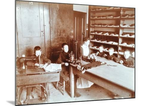 Boys Sewing at the Boys Home Industrial School, London, 1900--Mounted Photographic Print