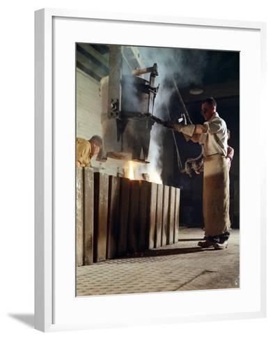Teeming Iron into Ingots, J Beardshaw and Sons, Sheffield, South Yorkshire, 1963-Michael Walters-Framed Art Print