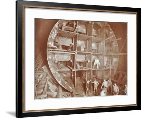 Construction of the Rotherhithe Tunnel, Bermondsey, London, November 1906--Framed Art Print