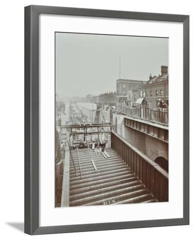 Construction of the Bridge Approach to Rotherhithe Tunnel, Bermondsey, London, 1906--Framed Art Print