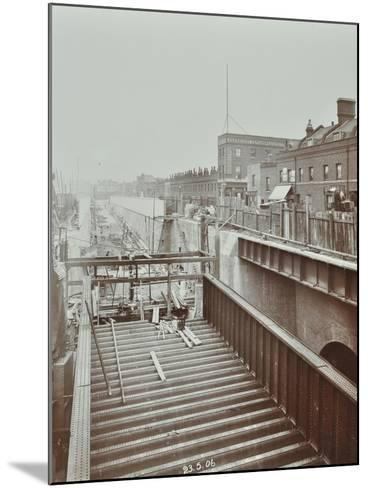 Construction of the Bridge Approach to Rotherhithe Tunnel, Bermondsey, London, 1906--Mounted Photographic Print